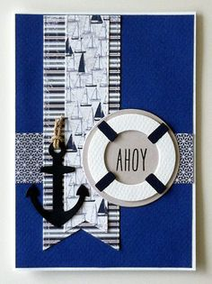 Card nautical - marine - anchor - Karte - Kort - maritim - Life by the sea - anker - redningskrans