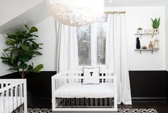 46 Unique Nursery Room Ideas For Baby Twins Baby Crib Bedding Sets, Crib Sets, Baby Cribs, Nursery Twins, Nursery Room, Room Baby, Baby Rooms, Bedroom, Nursery Modern