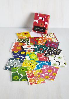 Marimekko Cards - Posh Paradigm Notecard Set by Chronicle Books - Multi, Floral, Dorm Decor, Good Marimekko, Office Art, Stationery Design, Illustrations, Mail Art, Keepsake Boxes, Dorm Decorations, Home Gifts, Note Cards