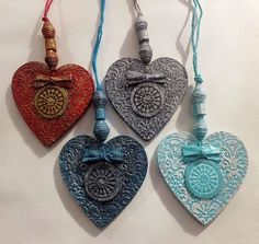 Single Shabby Chic, Vintage Style, Embossed, Decorative Hanging Heart handmade from re-cycled cardboard and paper. Use to hang on a door knob, tie on a special gift, give as a memento / wedding favour, tie round a vase etc.,etc.,etc.