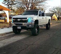 White lifted Silverado