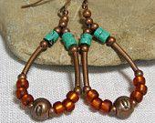 Hoop Earrings - Turquoise Earrings - Southwest Earrings - Native Earrings - Beaded Earrings - Tribal Statement Earrings
