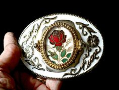 Men's Fancy Belt Buckle Rose Design Silver and Gold with