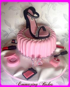 Shoe and make up pleated cake - by Emmazingbakes @ CakesDecor.com - cake decorating website