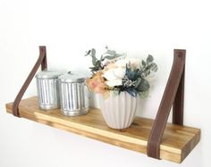 Wood Shelf Wall shelf Shelf-Pole Wood&Leather Shelf by Handians