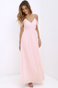 Romantic and utterly enchanting, our Quite the Charmer Peach Maxi Dress will put a bit of magic in every step you take! Off-the-shoulder straps top a triangle bodice. Blush Bridesmaid Dresses Long, Peach Maxi Dresses, Bridesmaid Dress Colors, Pink Prom Dresses, Gala Dresses, Dance Dresses, Formal Dresses, Pink Maxi, Bridesmaids