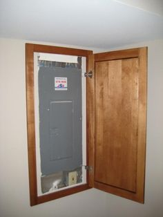 my hubby made this sweet distressed door cover for the electrical rh pinterest com Fuse Box School RV Fuse Box Door
