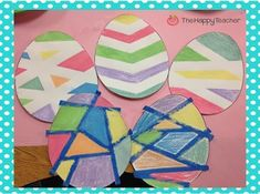 Easter Egg Art project using wet chalk & painter's tape!