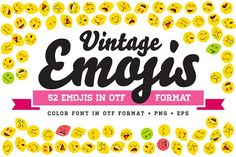 Vintage Emojis OTF Color Font by Ckybe's Corner on @creativemarket
