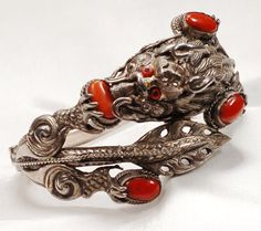 Chinese Sterling Silver Red Coral Dragon by EmbellishgirlVintage