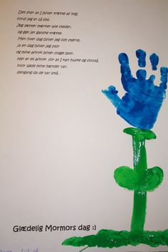 Kids handprints as a flower for mothersday