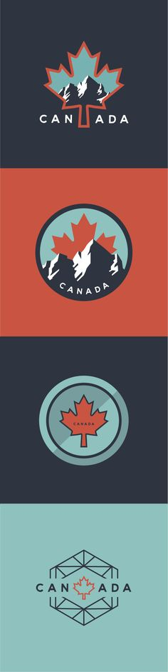 Canada Vector Sticker Design on Dribbble. Ode to the Canadian Rocky Mountains, hockey pucks, and maple leafs.
