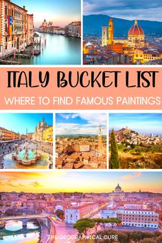 Planning a vacation in Italy and need some destination inspiration? If you're an art lover, this Italy guide takes you on a tour of all the places to find and see the best art in Italy -- paintings, frescos, sculptures, ruins. This guide takes you inside Italy's world class museums, ornate churches, and other must visit art destinations in Italy. From Rome to Venice to Florence to secret hidden gems, this Italy art guide gives you the goods on famous art in Italy, from Roman to Renaissance. Italy Travel Tips, Europe Travel Guide, Travel Guides, Cool Places To Visit, Places To Go, Italy Painting, Italy Art, Famous Art, Italy Vacation