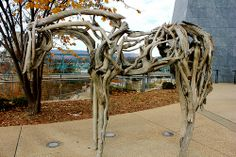 Horse sculpture outside of the Hunter Museum of Art in Chattanooga TN