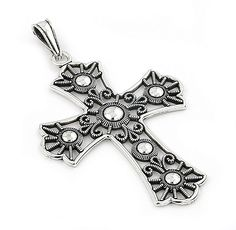 Decorated Silver Fleur De Lis Cross Pendant