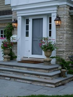 Decorative columns and header work, slate steps and stone risers.
