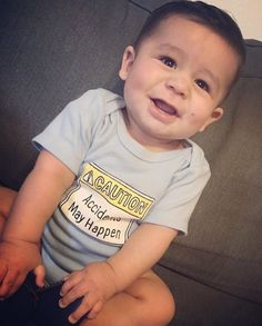 """Accidents May Happen"" ⚠️⚠️ You've been warned. Such a cute smile from this little man @paooogh ❤️ Shop link in Bio"