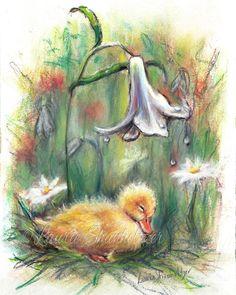 Duck Baby duck duckling Original art pastel by LaurieShanholtzer