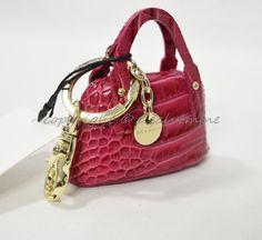 0feccd2675 Brahmin Small Leather Handbag Key Fob/Bag Charm in Punch Melbourne - Dark  Pink.