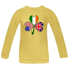 Celebrate St. Patrick's Day, Independence Day and British holidays all at once with this design featuring a #shamrock with a flag in each leaf: #UnitedKingdom and Great Britain, Ireland or United States of America. Great for family reunions and welcoming a new baby, too. $27.99 http://ink.flagnation.com from your @Auntie Shoe
