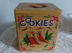 Large Wooden Cookie Jar with Roosters Made in Japan 1960s Handpainted $10.00 TODAY'S SPECIAL - One Day Only