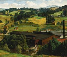 Luigi Lucioni (American, born Italy, 1900-1988), An American Landscape, 1930. Oil on canvas, 20 x 24 in. 50.8 x 61 cm.