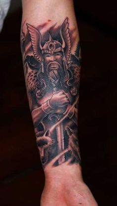 Fantasy on lower arm tattoo. Find and save ideas about Fantasy on lower arm tattoo on Tattoos Book. More than FREE TATTOOS Henna, Lower Arm Tattoos, Hello Kitty, Nordic Vikings, Fantasy Tattoos, God Tattoos, Nordic Tattoo, Fantasy Warrior, Tattoo Designs