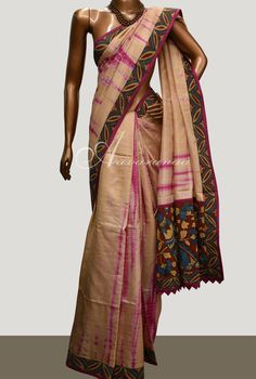 Tie dye tussar saree with kalamkari border