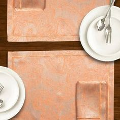 Placemats Foglia Fresh orange summer color Luxurious jacquard linen fabric woven in Italy. Unique placemats for your dining table. We ship worldwide. Price for set of Each set has 1 placemat & 1 napkin . Unique Placemats, Bath Table, French Fabric, Paris Design, Elle Decor, Luxury Interior, Table Linens, Cottage Style, Linen Fabric