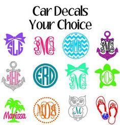 Monogram Car Decals Window Sticker by VinylDezignz on Etsy, $4.95