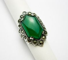 Art Deco Green Chrysoprase Sterling Ring with by TampicoJewelry, $120.00