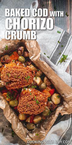 Baked Cod with Chorizo Crumb Recipe - a tray bake recipe ready in 30 minutes.  #recipes #mealideas #food #dinnerideas #brunchrecipes #dinnerrecipes #yummy #recipe Tray Bake Recipes, Brunch Recipes, Seafood Recipes, Dinner Recipes, Cooking Recipes, Midweek Meals, Easy Meals, Traybake Dinner, Crumb Recipe