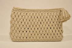 Crochet Beige Large Wristlet With Handmade Handle, Women Cosmetic Bag, Zipper Closure Large Clutch, Gift for Friend, Gift For Her Gifts For Friends, Gifts For Her, Human Trafficking, Knit Or Crochet, One Pic, Cosmetic Bag, Handle, Beige, Atelier