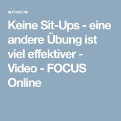 Keine Sit-Ups - eine andere Übung ist viel effektiver - Video - FOCUS Online