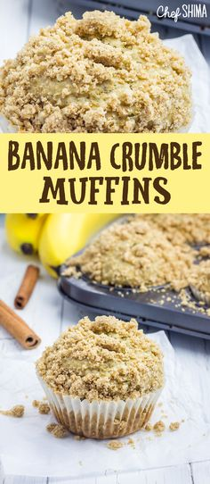 The crumb topping on our Banana Crumble Muffins recipe is what makes it stand apart from the ordinary. Banana Crumble Muffins, Muffin Recipes, Breakfast, Desserts, Food, Morning Coffee, Tailgate Desserts, Deserts, Loaf Recipes