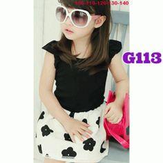 Sweet flower white dress (G113) || size 100-140 || IDR 97.000