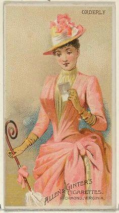 Pink late bustle dress advertising artwork love that swirly parasol handle Victorian Hats, Victorian Women, Victorian Fashion, Victorian Dresses, Fancy Dress Ball, Old Fashion Dresses, Cigarette Brands, Bustle Dress, 19th Century Fashion