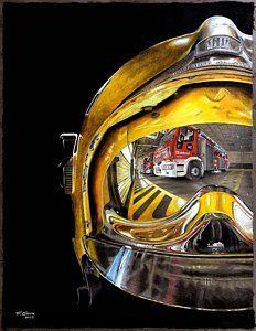 Fire Station Painting - Firefighter Helmet by Ferran Serra Firefighter Gear, Firefighter Pictures, Firefighter Quotes, Volunteer Firefighter, Firefighter Photography, Fire Crafts, Helmet Tattoo, Fire Badge, Fire Helmet