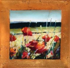 Contemporary Abstract Mixed Media Painting Poppy Field by Intuitive Artist Joan Fullerton -- Joan Fullerton