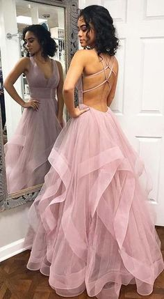 custom drsses Blush Pink Ruffles Ball Gown Criss-Cross Backless Prom Dresses V-neck Long Prom Dress Tulle Evening Dress Formal Gowns Hot Prom Gowns Prom Dresses Long Pink, Open Back Prom Dresses, Backless Prom Dresses, Tulle Prom Dress, Formal Evening Dresses, Dress Up, Dress Long, Pastel Prom Dress, Light Purple Prom Dress