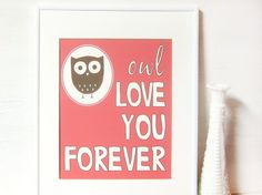 Just got this to put in a cute vintage white frame for Baby X's room...  The owl theme is almost complete!