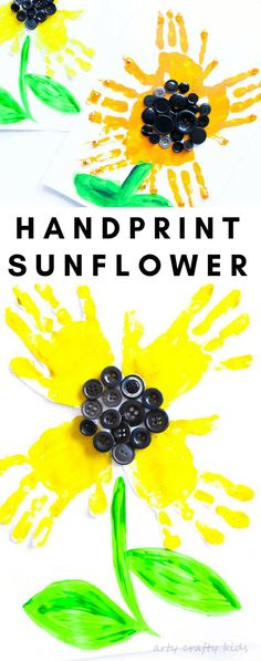 Super sunflower art for kids children hand prints ideas Easy Arts And Crafts, Easy Crafts For Kids, Summer Crafts, Diy For Kids, Harvest Crafts For Kids, Fall Art For Toddlers, Garden Crafts For Kids, Sunflower Crafts, Sunflower Art