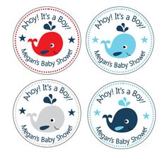 """Personalized 2.5"""" OR 2"""" Round Nautical, baby Whale shower sticker favors, decorations. $4.25, via Etsy."""