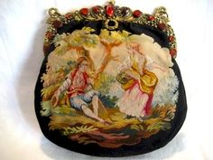 This is an absolutely stunning early 1900's hand woven French Aubusson tapestry purse