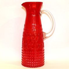 Wasserkaraffe-Glaskaraffe-buntes-Glas-1-1-Liter-rot-Zafferano
