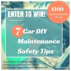 Get DIY Car Maintenance Safety Tips & enter to win a $100 American Express Gift Card  #MasteringAuto