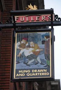 Hung Drawn and Quartered pub relates to its location close by the former public execution ground of Tower Hill in London. Some of those executed there are recorded on a memorial at the site