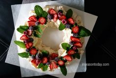 Your guests will be so impressed with this Berry Pavlova Wreath and you can use frozen berries. Don't miss the NO BAKE Chocolate Raspberry Cheesecake too!