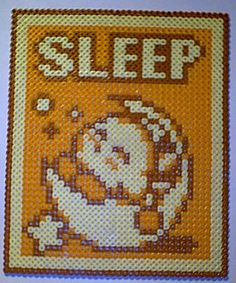 Kirbys Adventure - SLEEP perler beads by KVDruidess on deviantart
