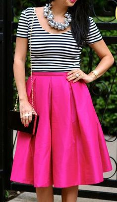 Stripes & a pop of pink!